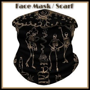 Unisex Face Mask Scarf Skeletons Gothic Black Soft